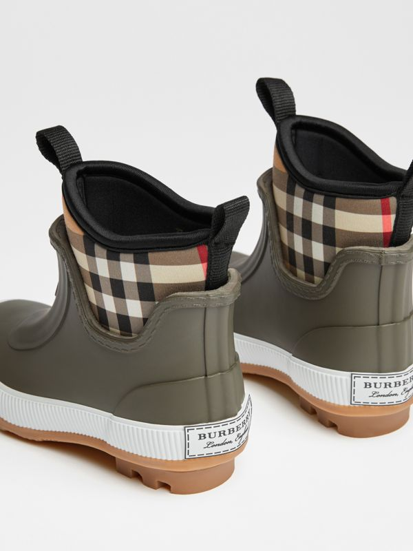 Vintage Check Neoprene and Rubber Rain Boots in Military Green | Burberry - cell image 2