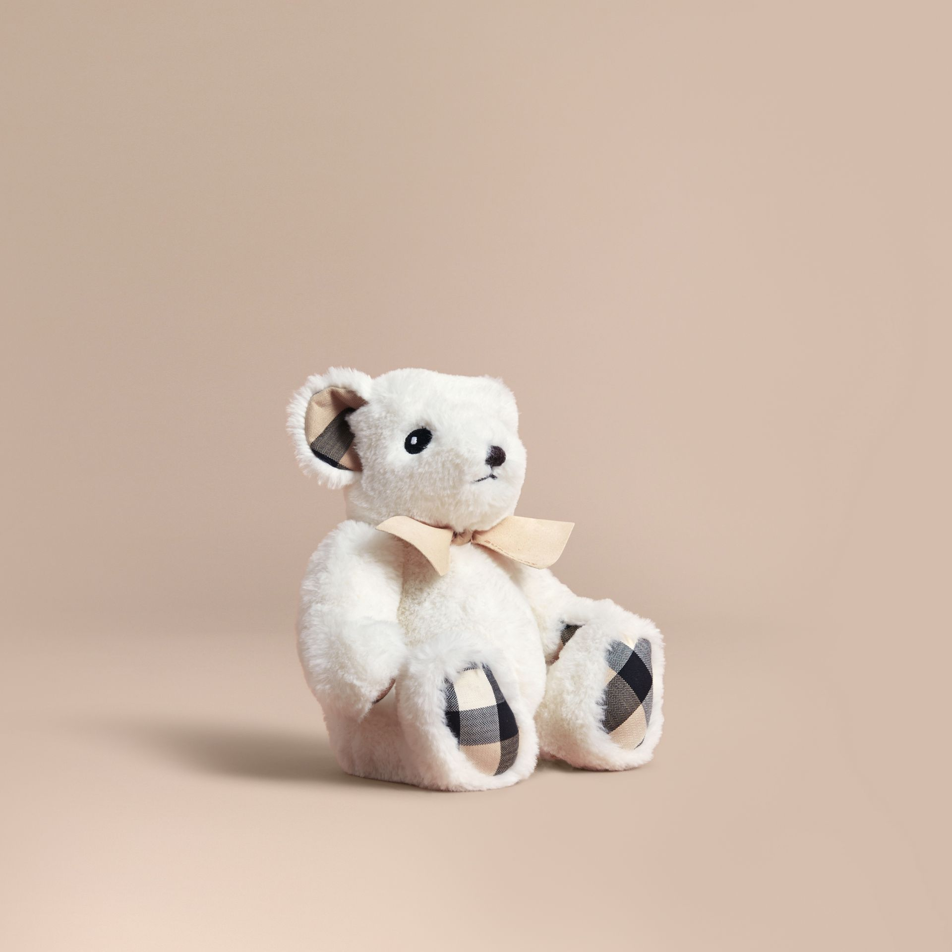 Thomas Baby Bear with Check Detail in White | Burberry - gallery image 1