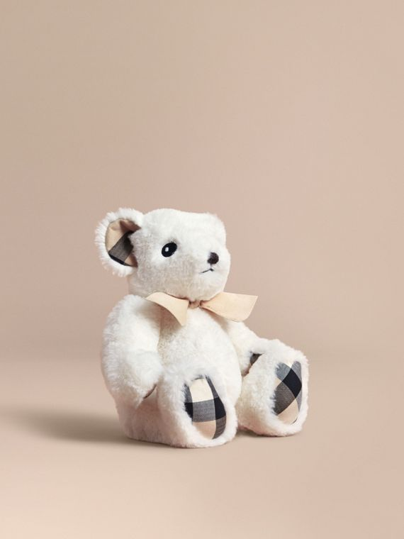 Thomas Baby Bear with Check Detail in White | Burberry Singapore