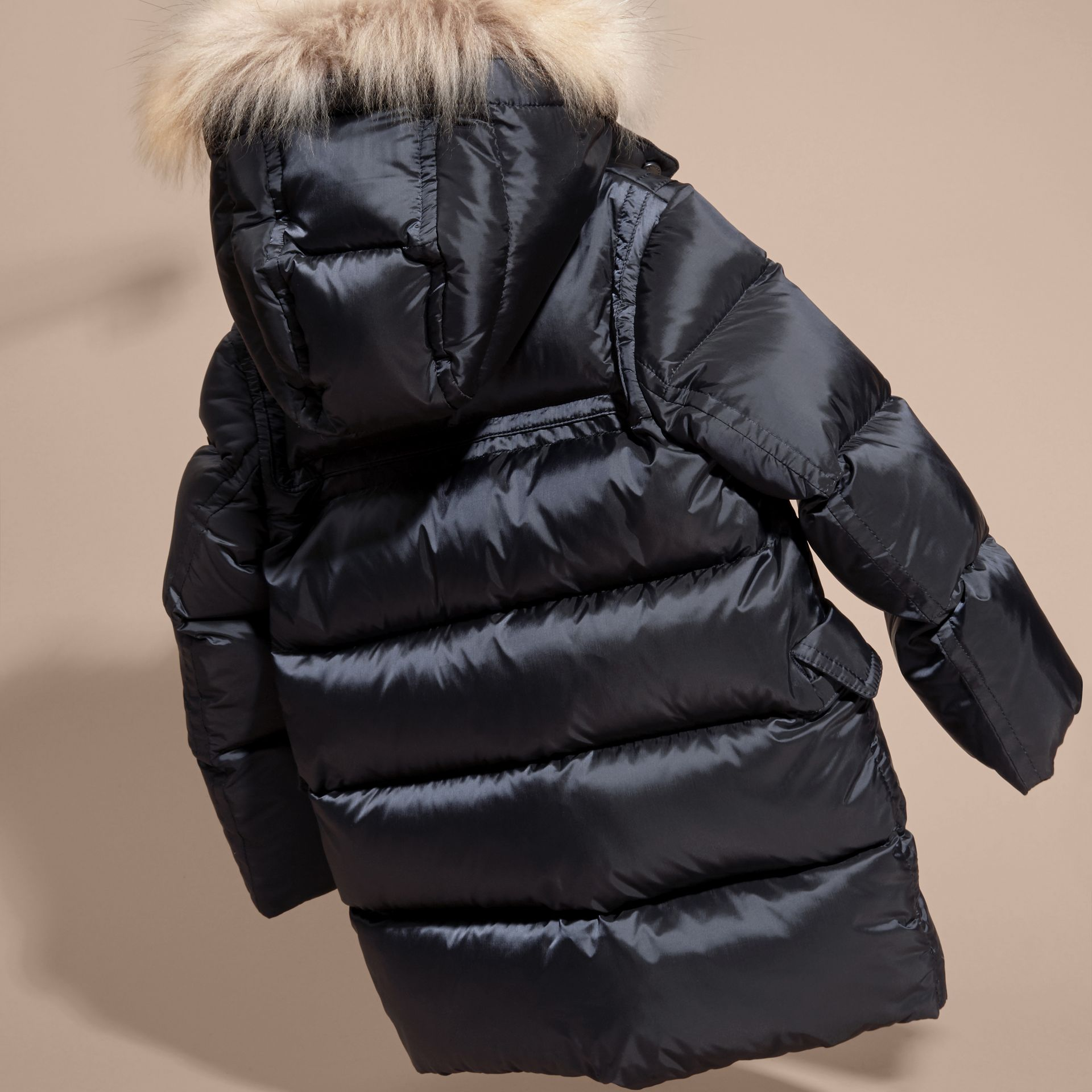 Navy Down-filled Hooded Coat with Detachable Raccoon Fur Trim - gallery image 4