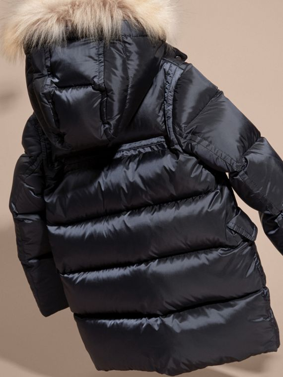 Navy Down-filled Hooded Coat with Detachable Raccoon Fur Trim - cell image 3