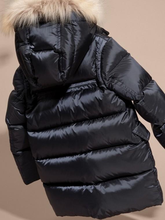 Manteau rembourré à capuche avec bordure en fourrure de raton laveur amovible - Fille | Burberry - cell image 3