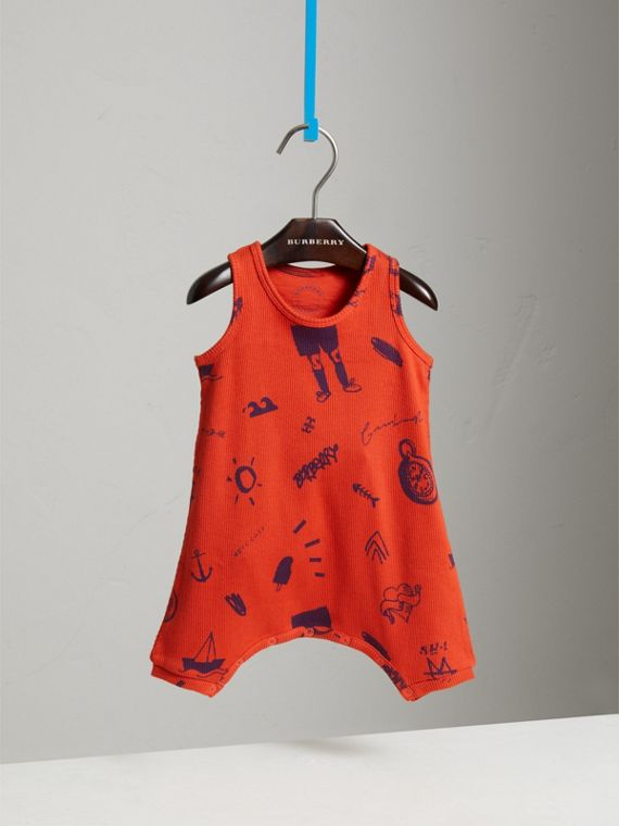 Adventure Print Cotton Jersey Bodysuit in Bright Coral Red