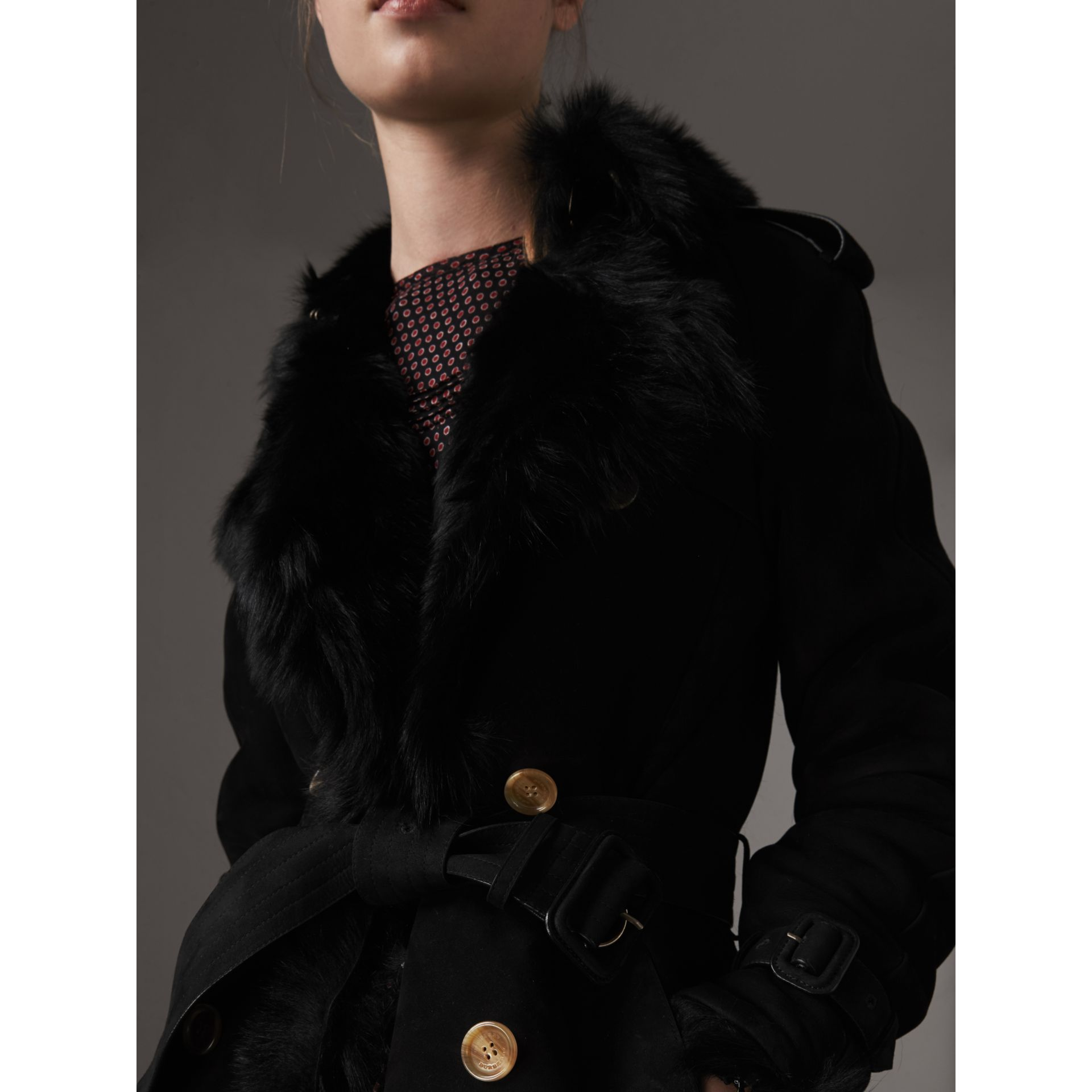 Shearling Trench Coat in Black - Women | Burberry - gallery image 6
