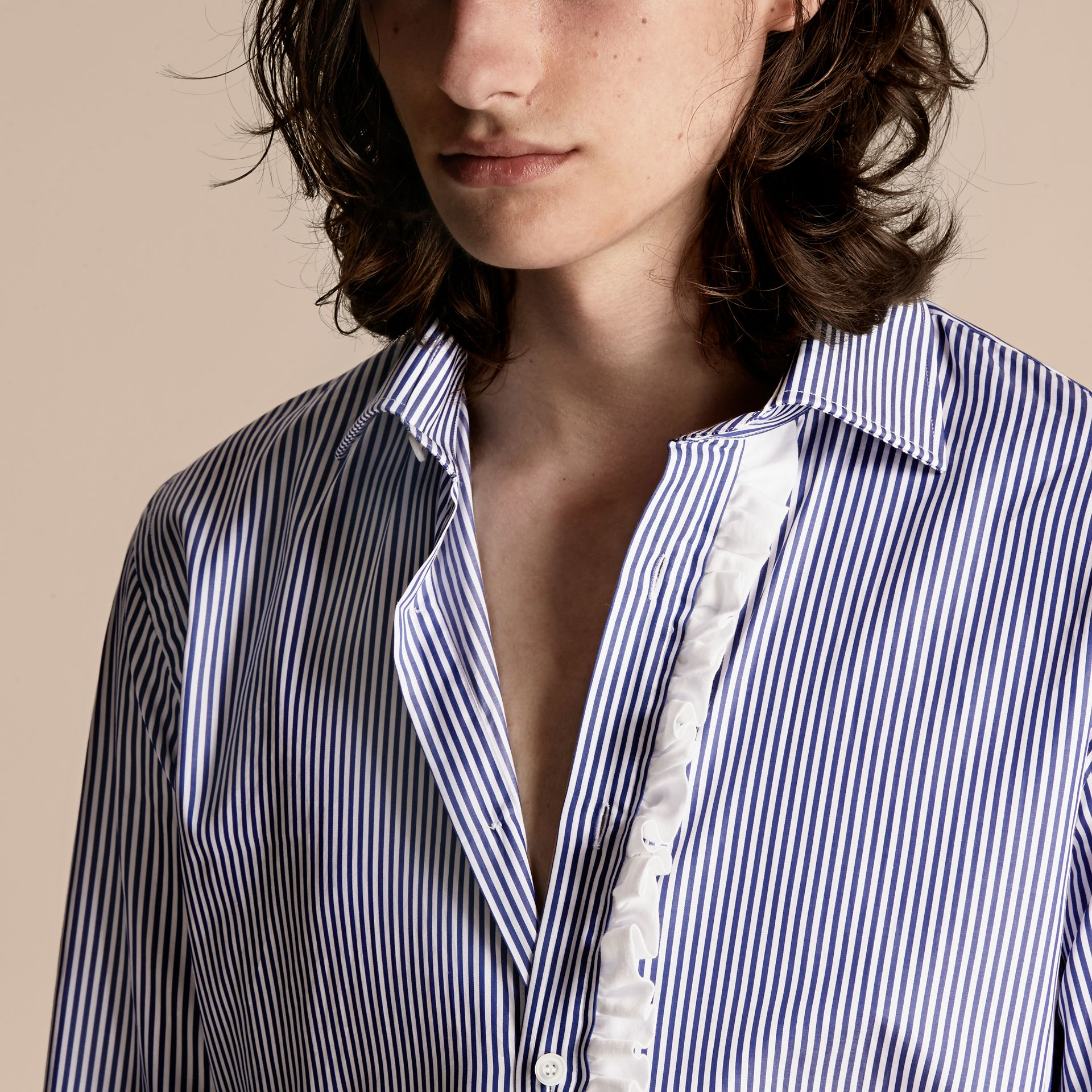 Ruffle Detail Striped Cotton Shirt - gallery image 5
