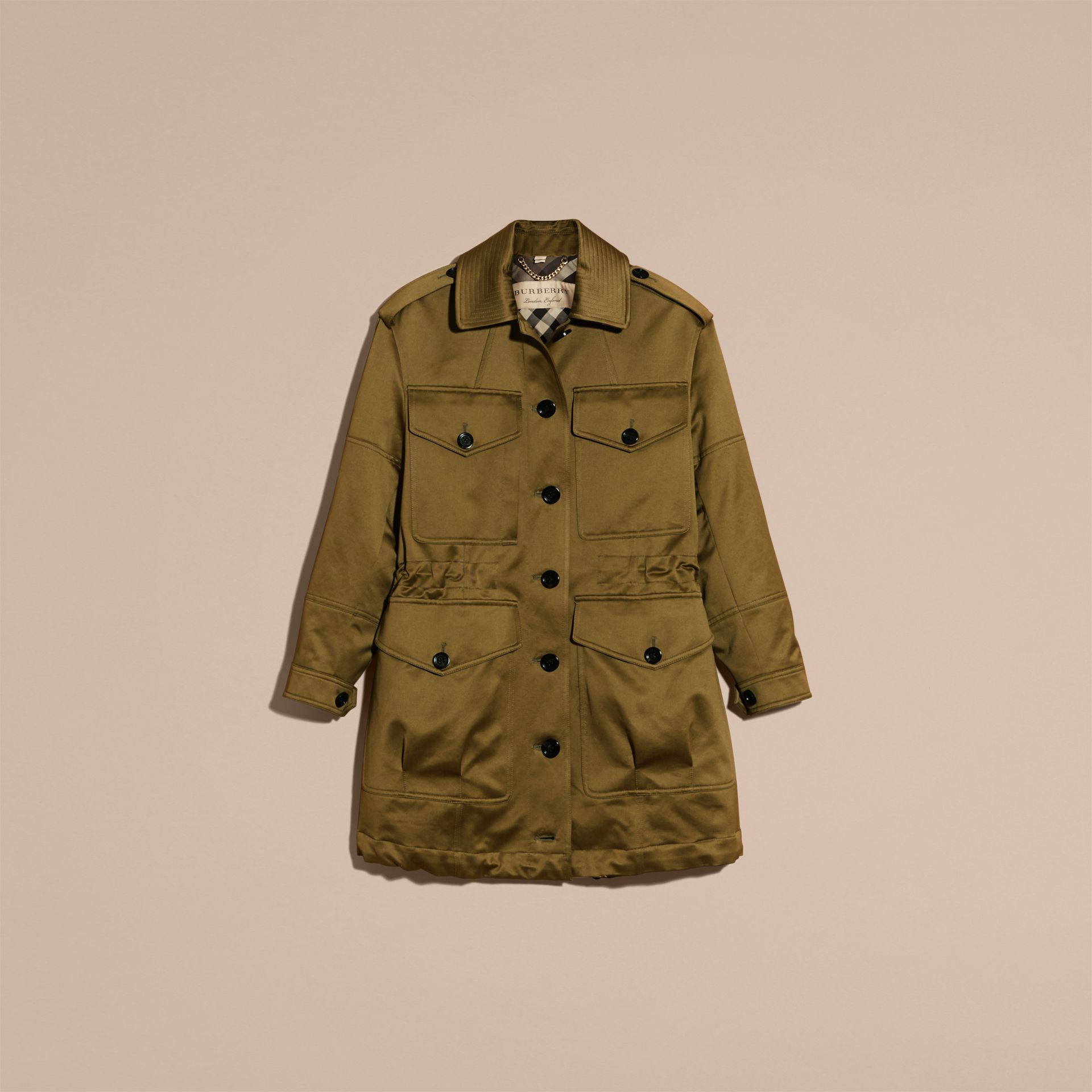 Olive Oversize Check Lined Cotton Field Jacket - gallery image 4