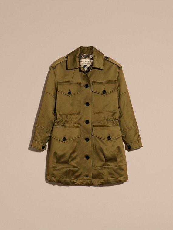 Olive Oversize Check Lined Cotton Field Jacket - cell image 3