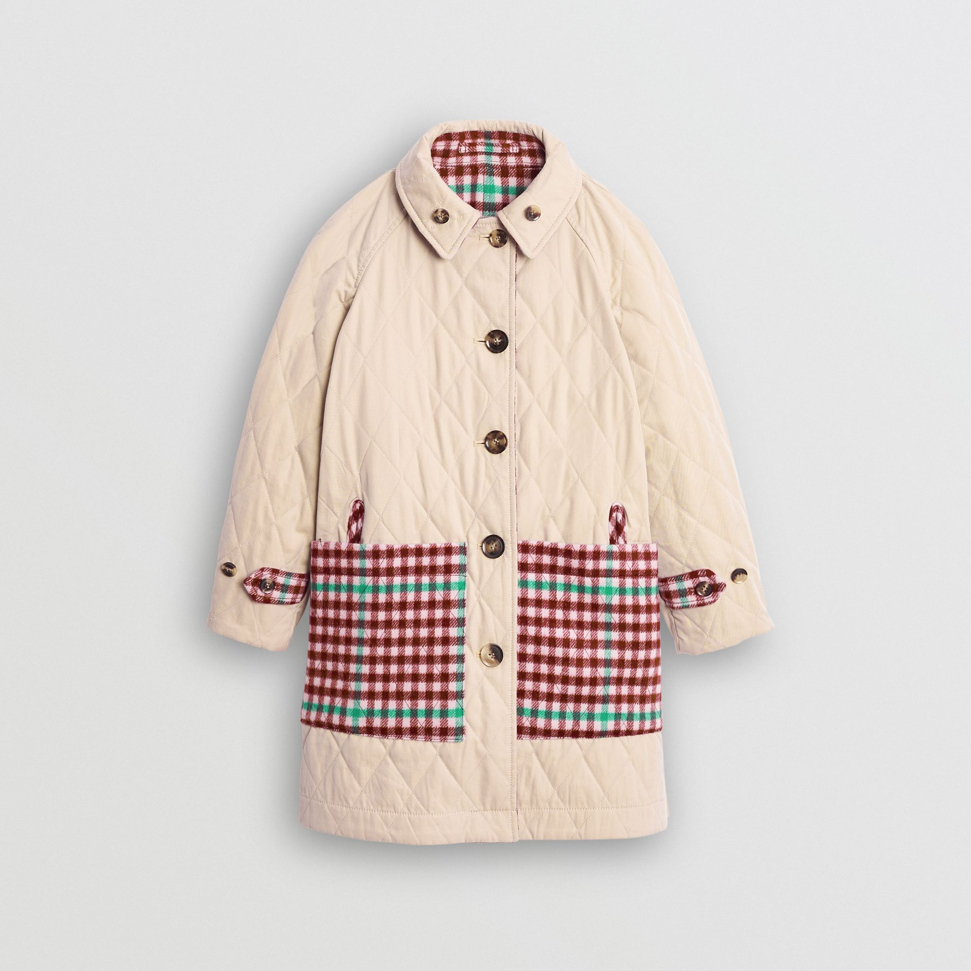Reversible Check Wool and Cotton Car Coat in Garnet Pink - Children | Burberry - gallery image 4