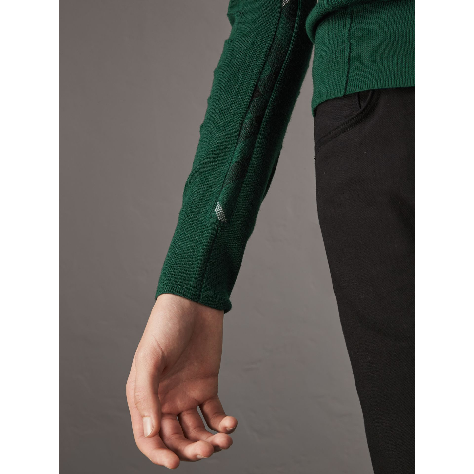 Check Detail Merino Wool V-neck Sweater in Dark Teal - Men | Burberry Singapore - gallery image 2