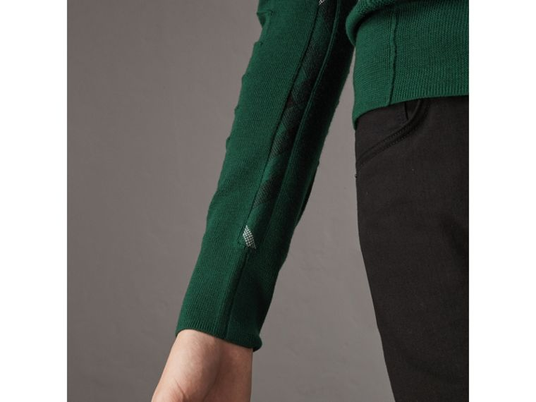 Check Detail Merino Wool V-neck Sweater in Dark Teal - Men | Burberry Singapore - cell image 1