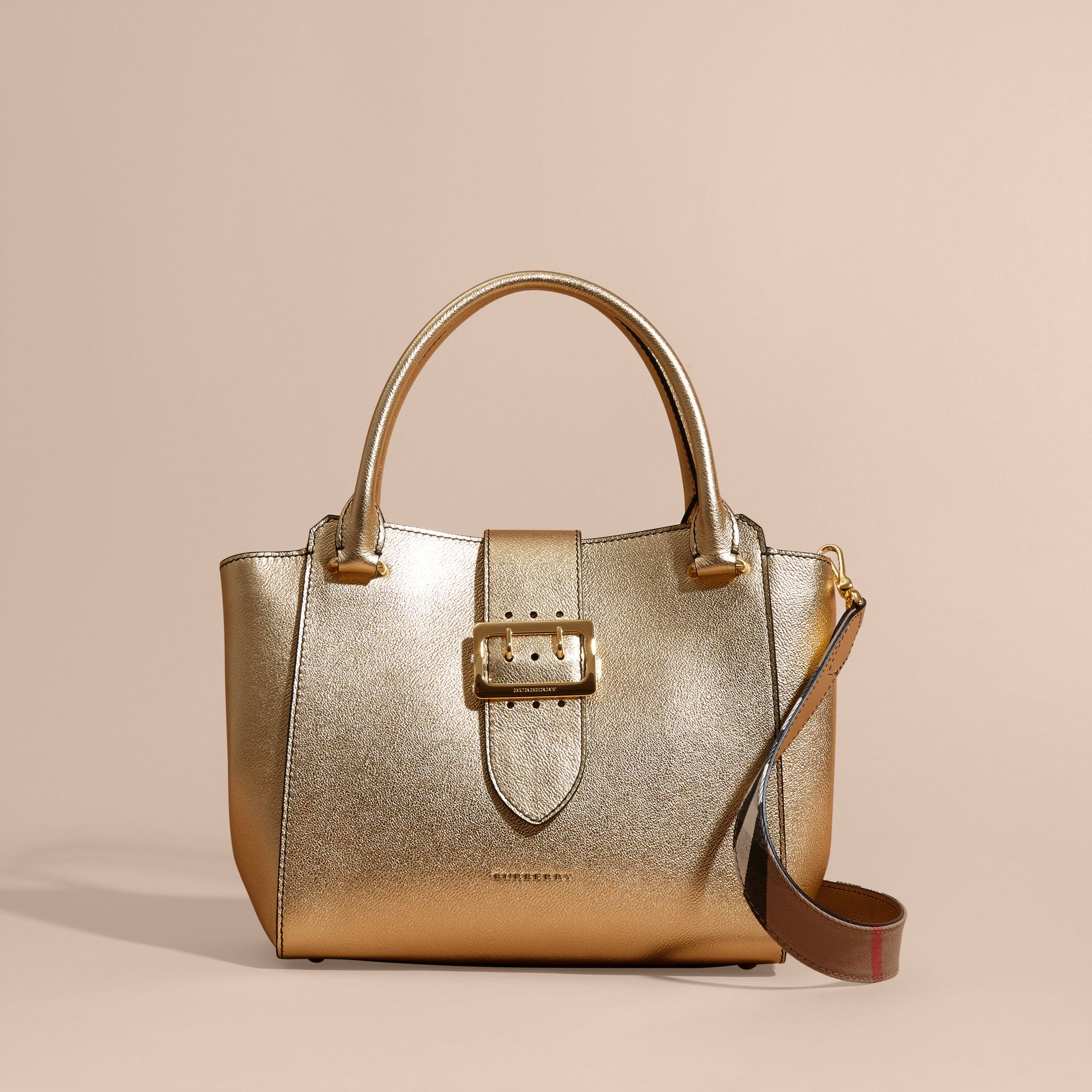 Gold The Medium Buckle Tote in Metallic Leather - gallery image 9