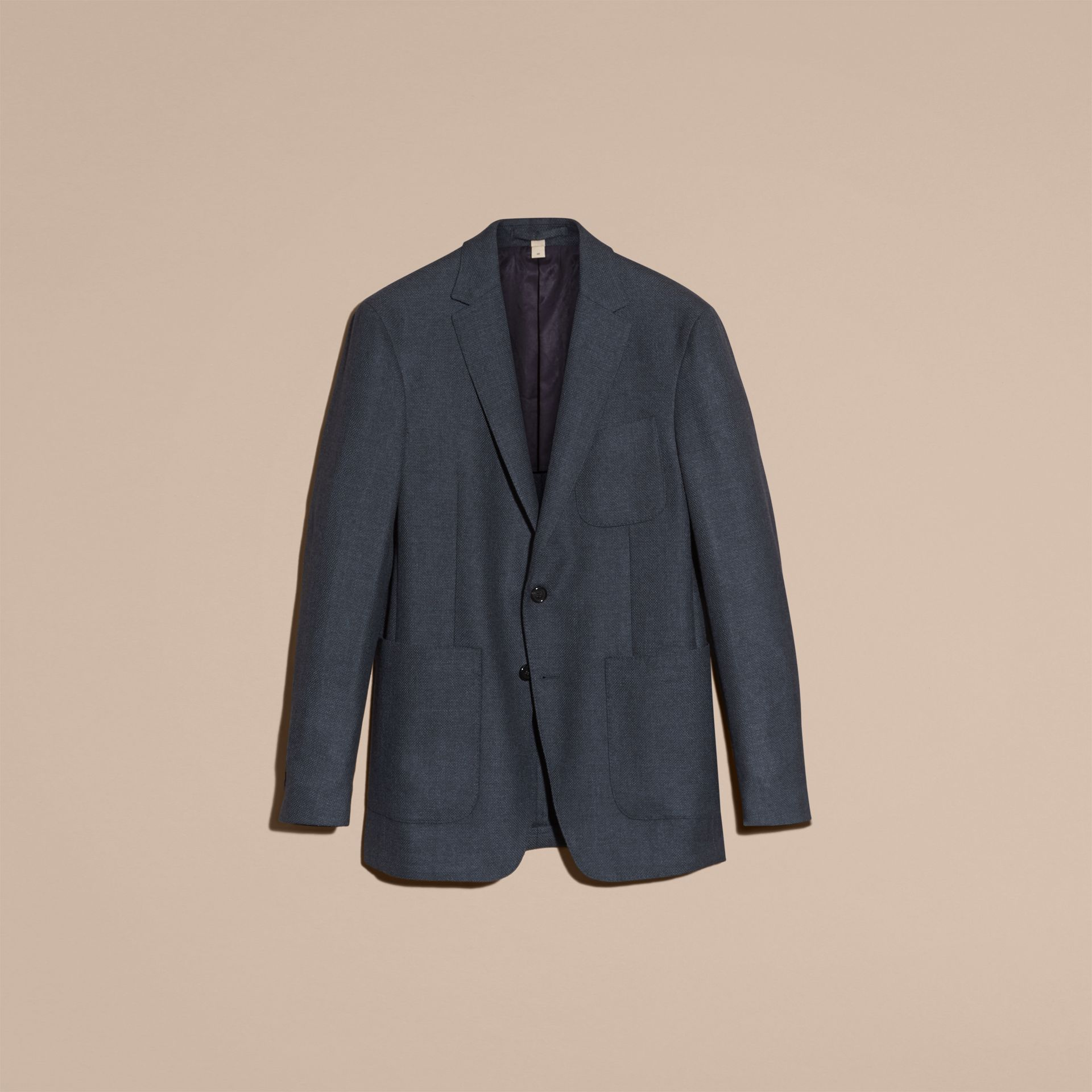 Storm blue Modern Fit Wool Cashmere Hopsack Tailored Jacket - gallery image 4
