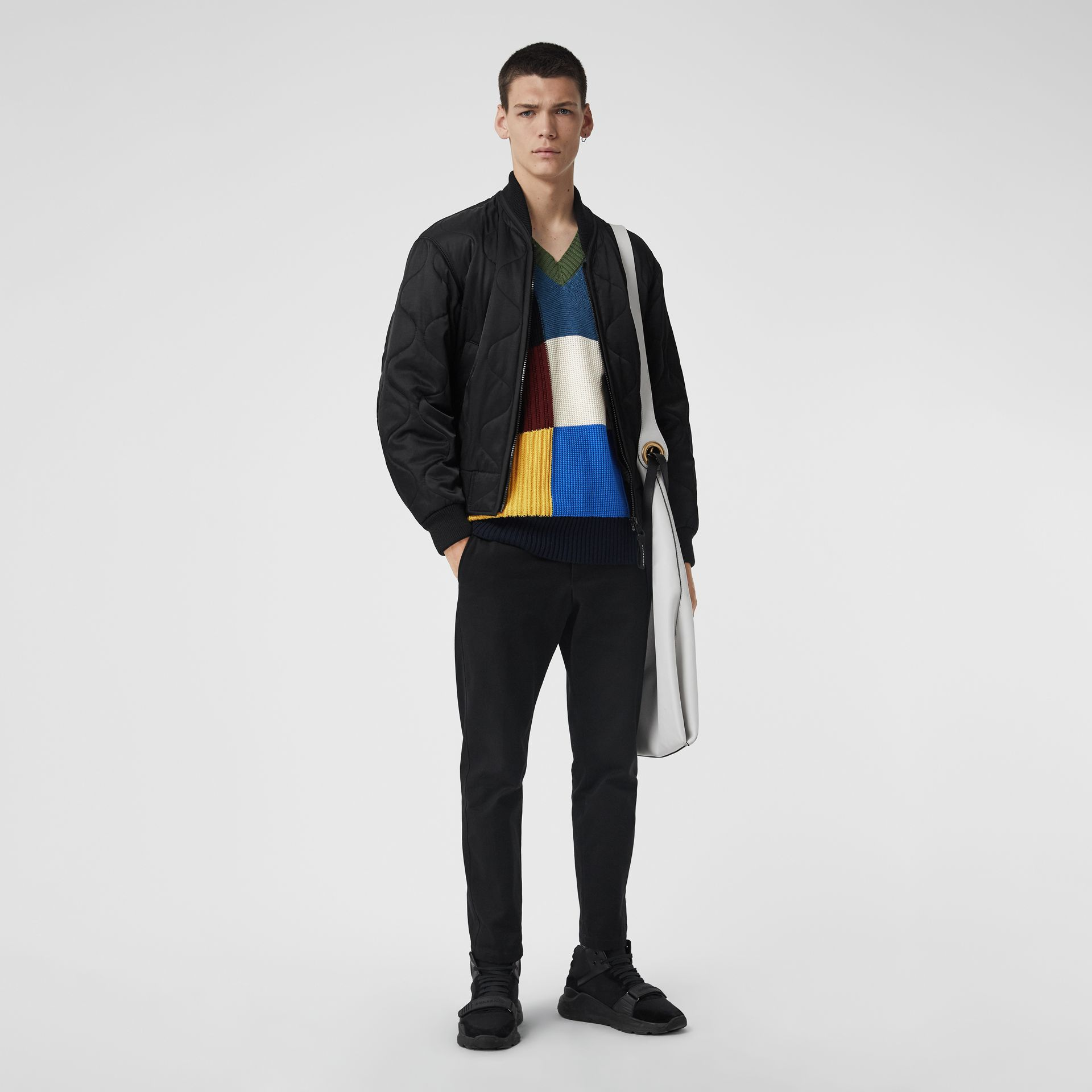 Patchwork Wool V-neck Sweater in Navy - Men | Burberry Australia - gallery image 4