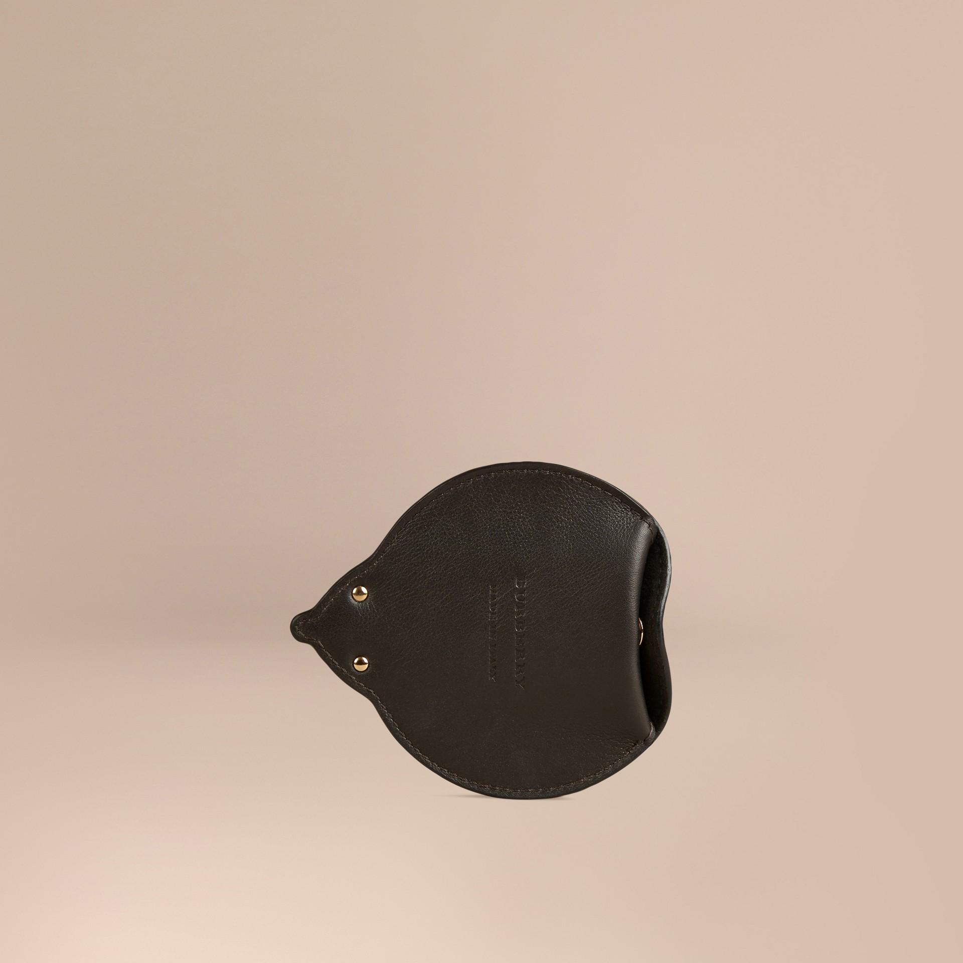 Cioccolato Portamonete riccio in pelle e cavallino - immagine della galleria 3