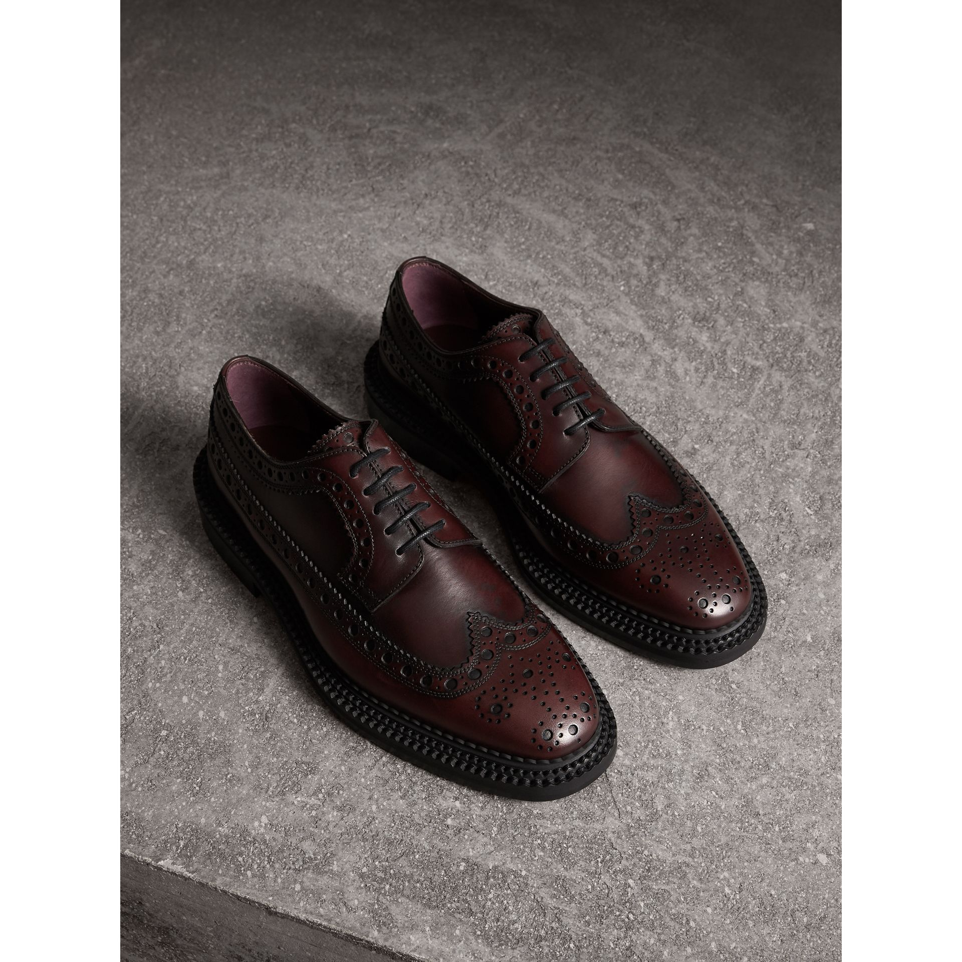Leather Derby Brogues in Bordeaux - Men | Burberry - gallery image 1