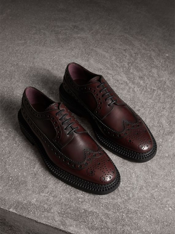 Leather Derby Brogues in Bordeaux