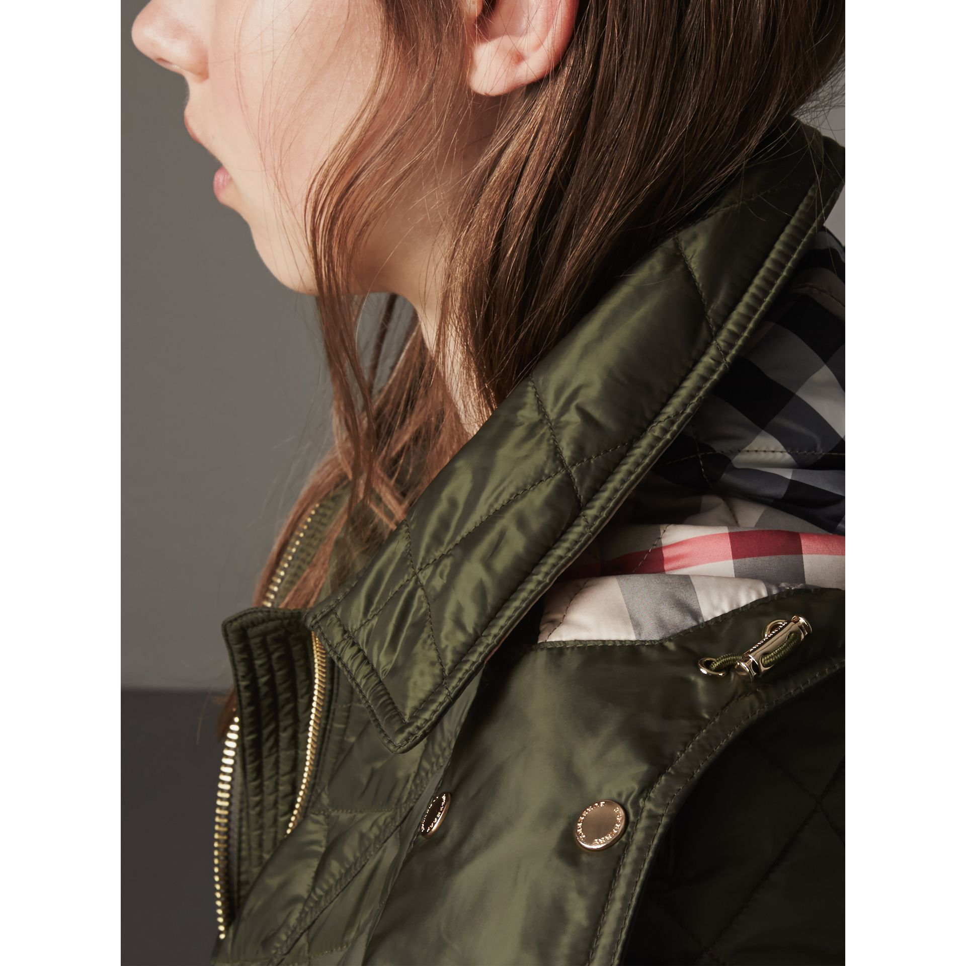 Detachable Hood Quilted Showerproof Parka in Military Khaki - Women | Burberry - gallery image 2