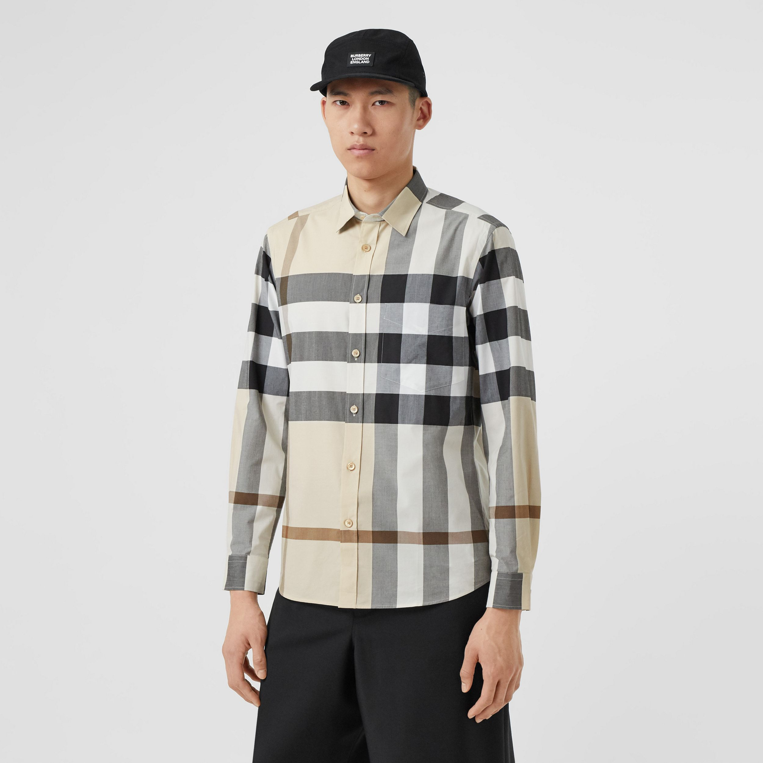Check Stretch Cotton Poplin Shirt in Modern Beige - Men | Burberry Hong Kong S.A.R. - 1