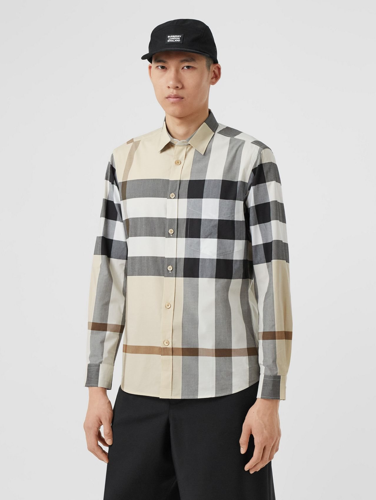 Check Stretch Cotton Poplin Shirt in Modern Beige