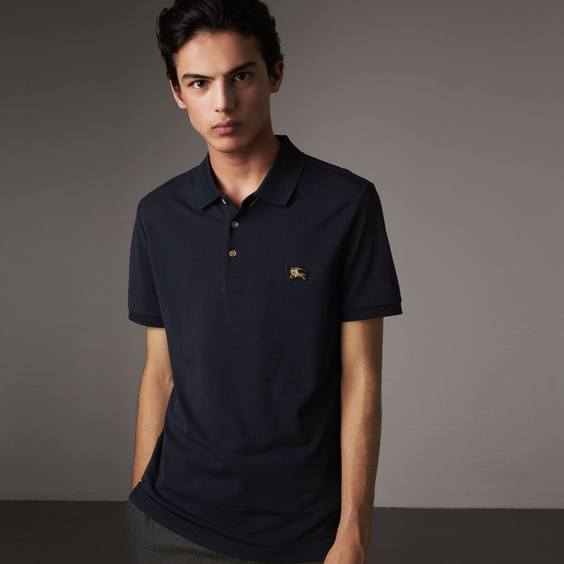 Cotton Piqué Polo Shirt in Navy - Men | Burberry United States - gallery image 0