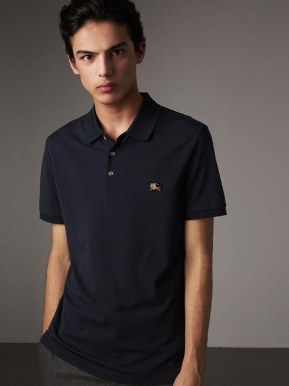 Cotton Piqué Polo Shirt in Navy