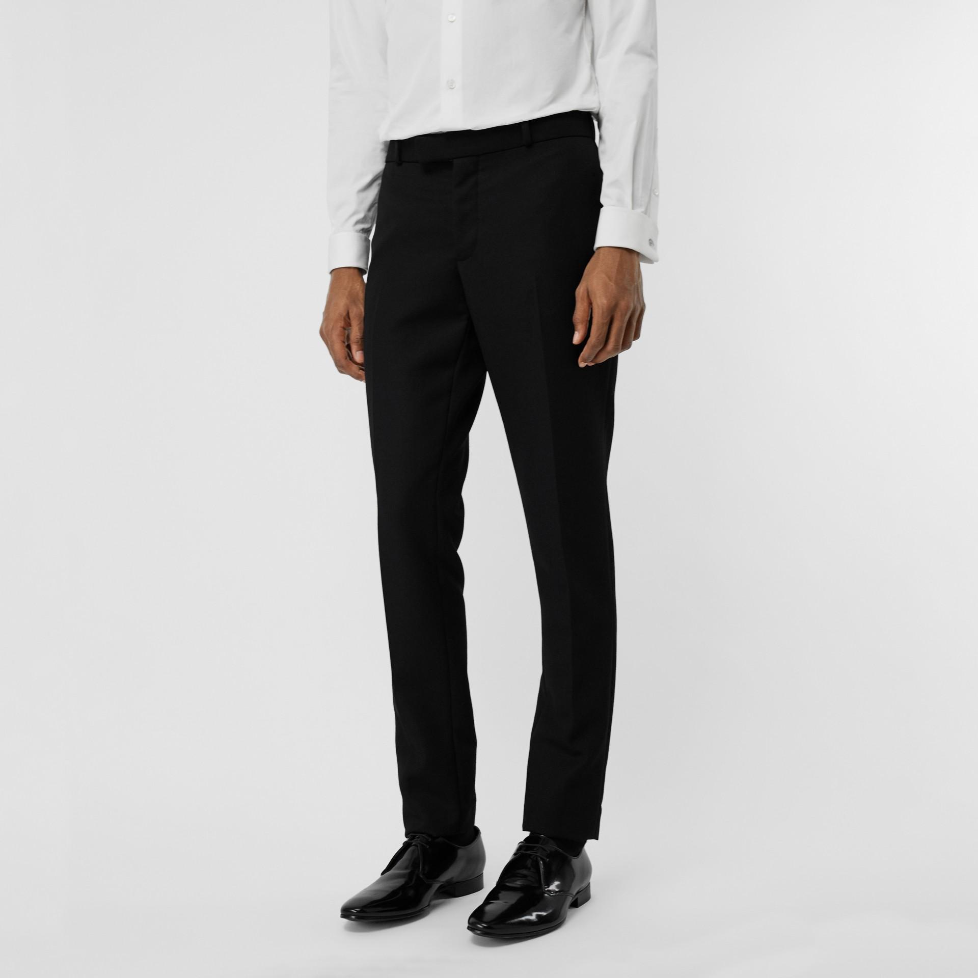 Soho Fit Bullion Stripe Wool Twill Tailored Trousers in Black - Men | Burberry - gallery image 4