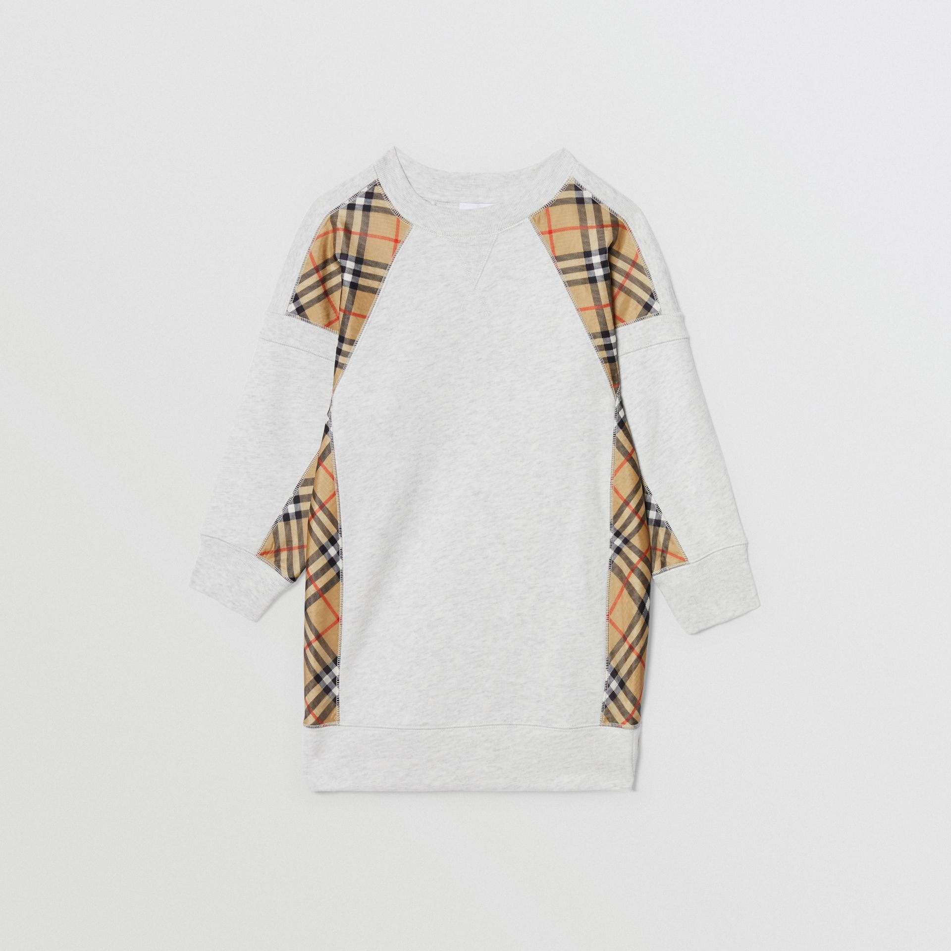 Vintage Check Panel Cotton Sweater Dress in White Melange | Burberry United Kingdom - gallery image 0