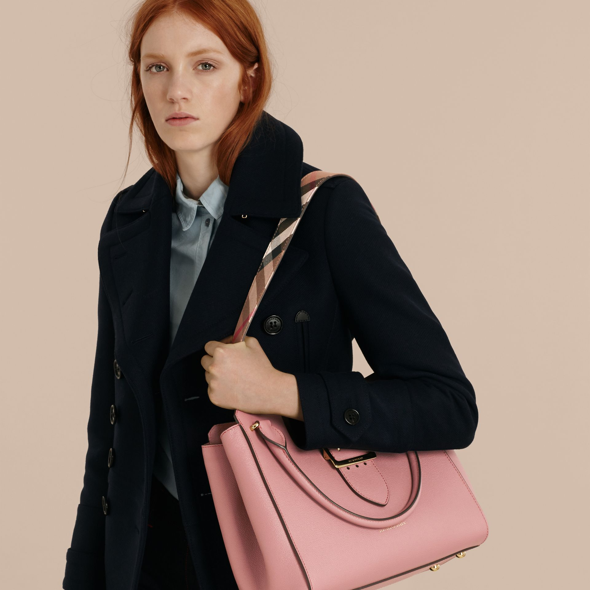 The Medium Buckle Tote in Grainy Leather in Dusty Pink - Women | Burberry - gallery image 4