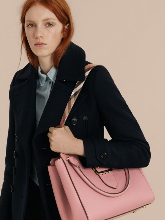 The Medium Buckle Tote in Grainy Leather in Dusty Pink - cell image 3