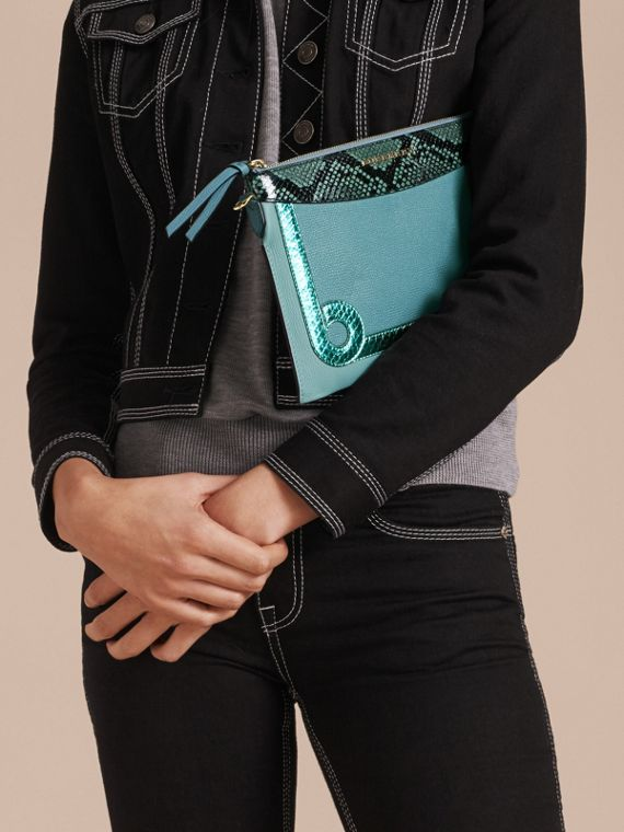Celadon blue Leather and Snakeskin Clutch Bag Celadon Blue - cell image 3