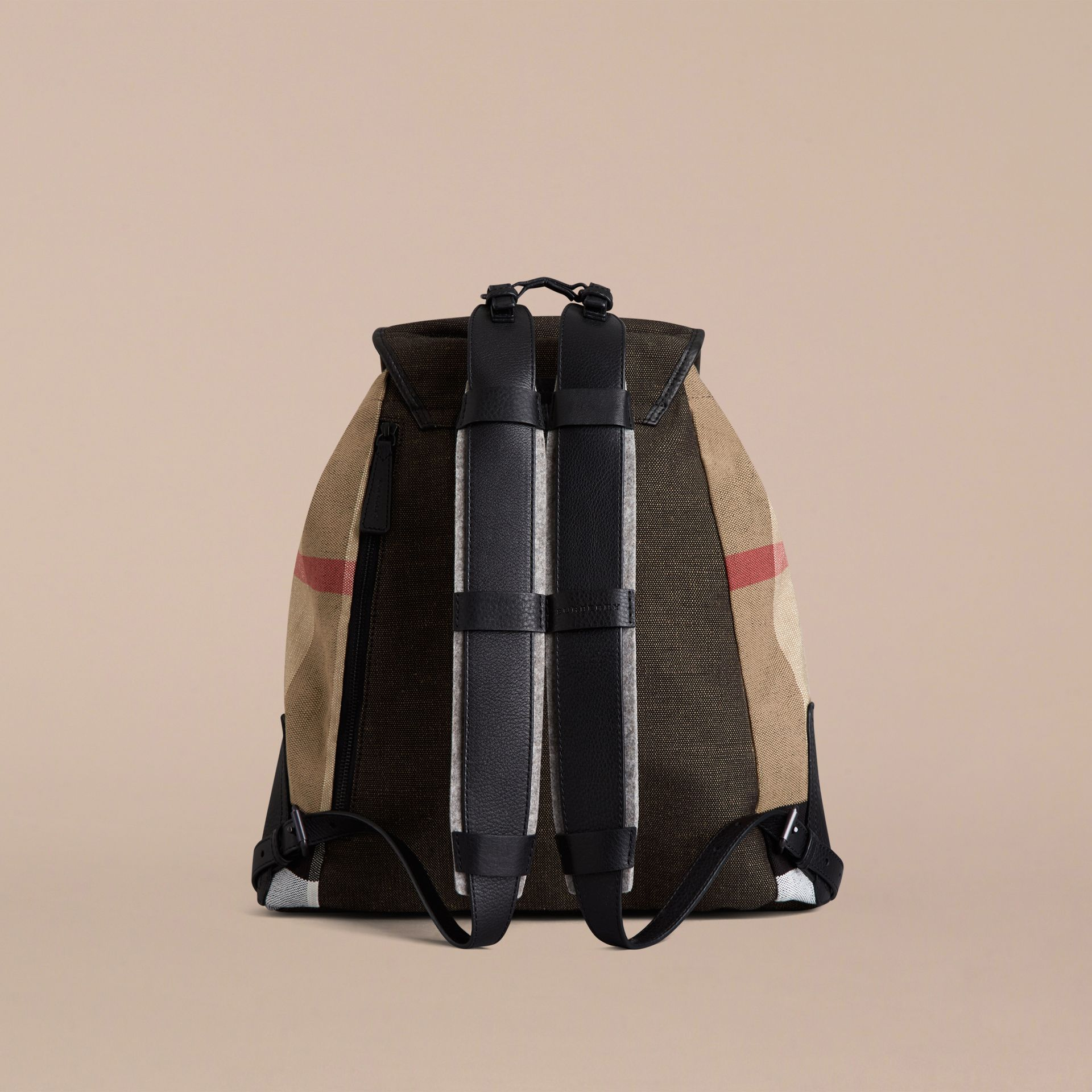 Camel Canvas Check Backpack - gallery image 2