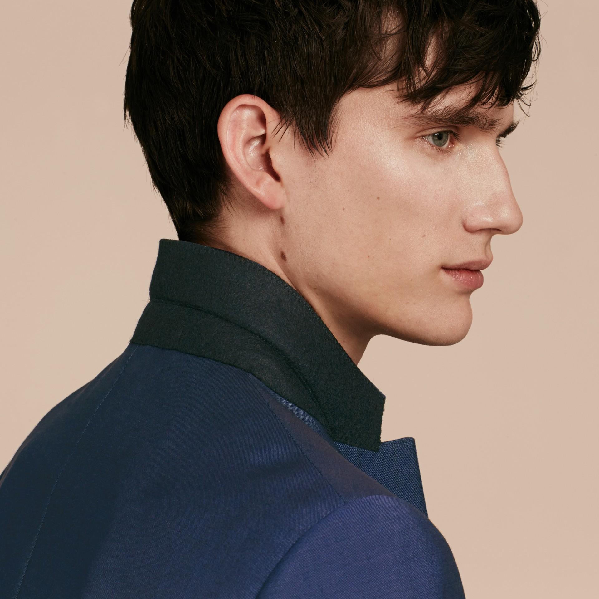Dark canvas blue Slim Fit Wool Mohair Part-canvas Jacket - gallery image 6