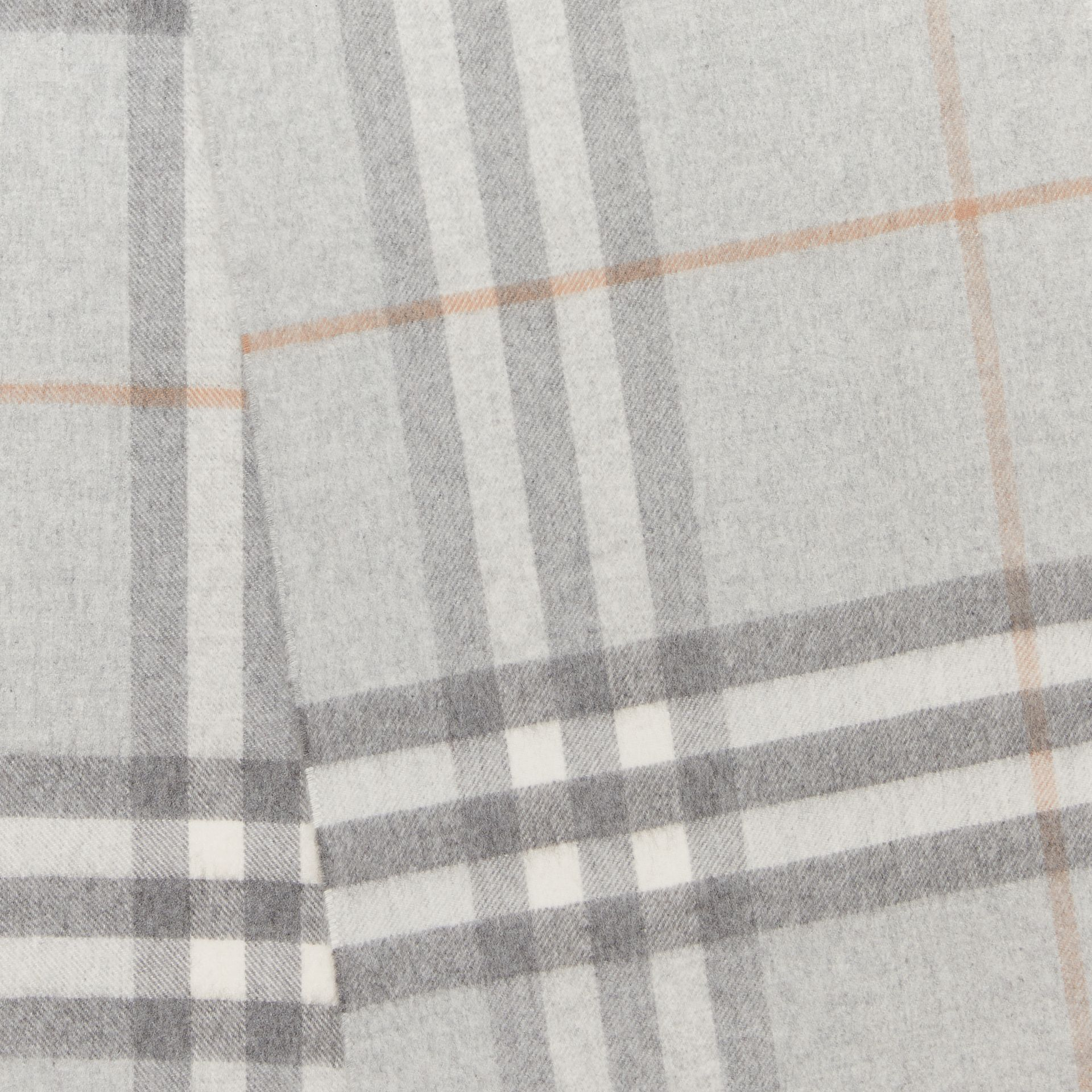The Classic Check Cashmere Scarf in Light Grey | Burberry - gallery image 1
