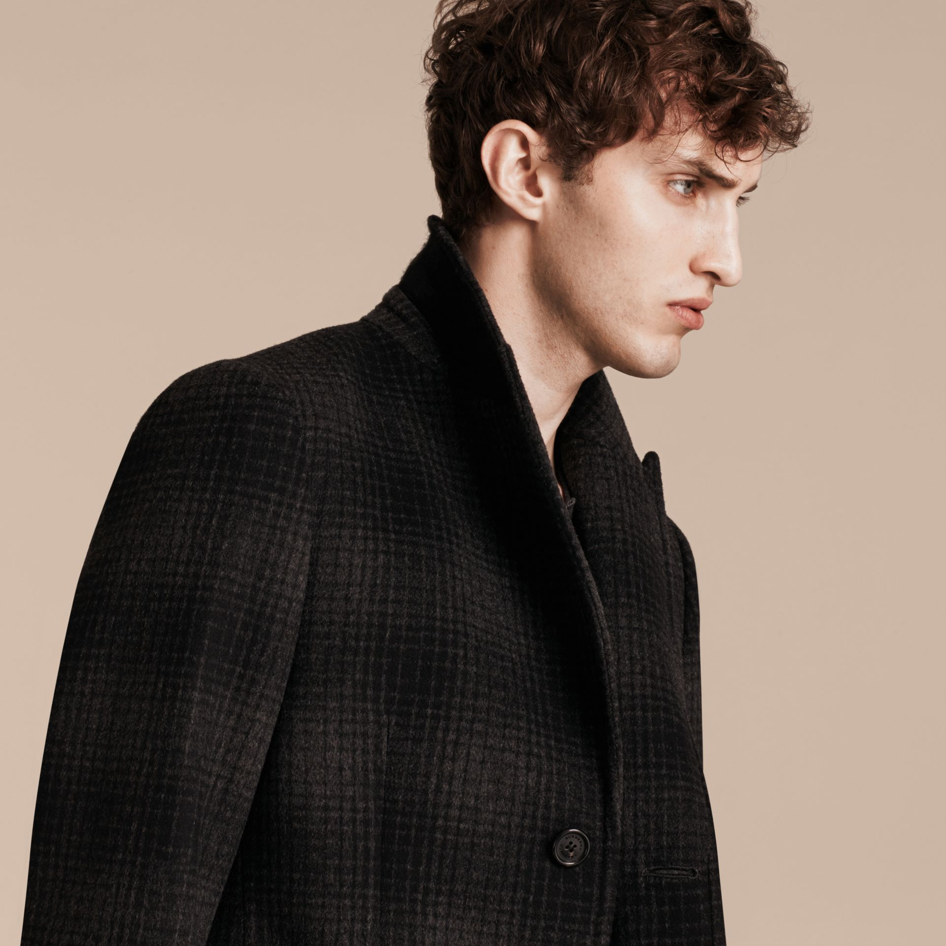 Charcoal melange Tailored Check Wool Cashmere Coat - gallery image 6