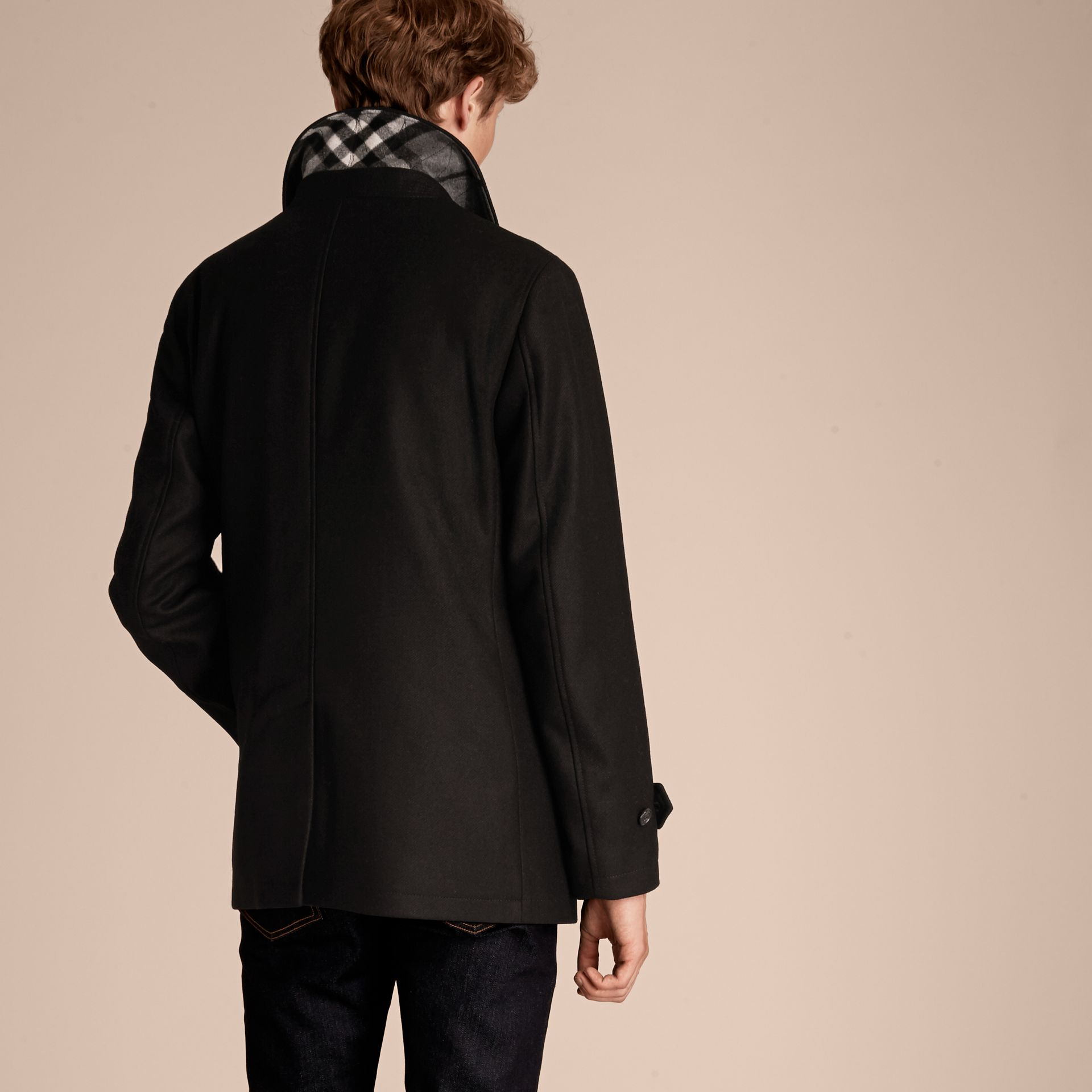 Black Wool Cashmere Blend Coat with Detachable Warmer - gallery image 3