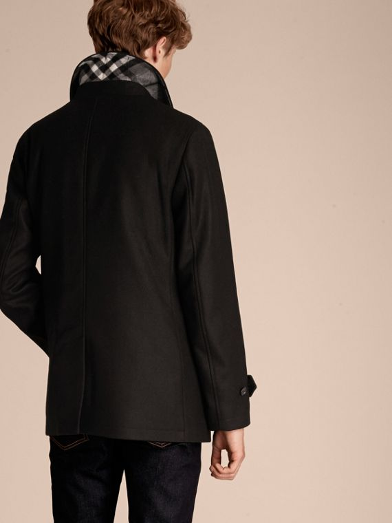 Wool Cashmere Blend Coat with Detachable Warmer in Black - cell image 2