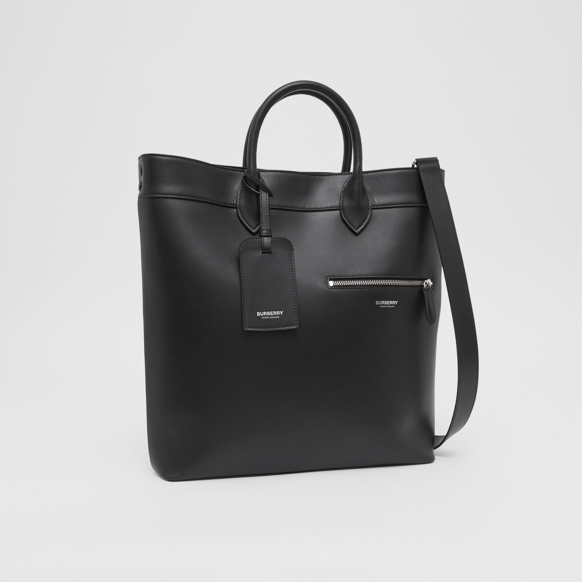 Leather Tote in Black - Men | Burberry United Kingdom - gallery image 8