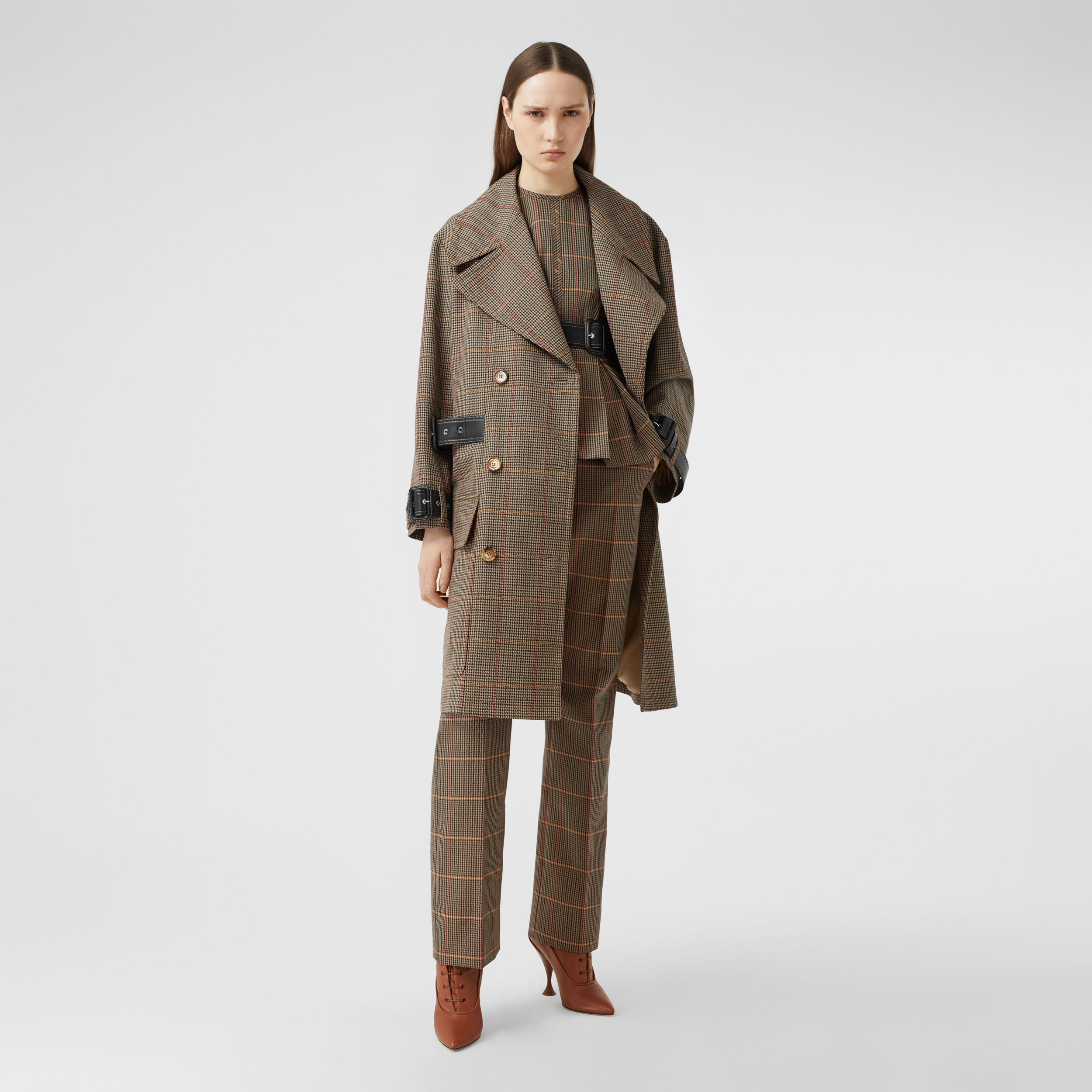 Houndstooth Check Wool Double-breasted Coat in Dark Brown - Women | Burberry - 1