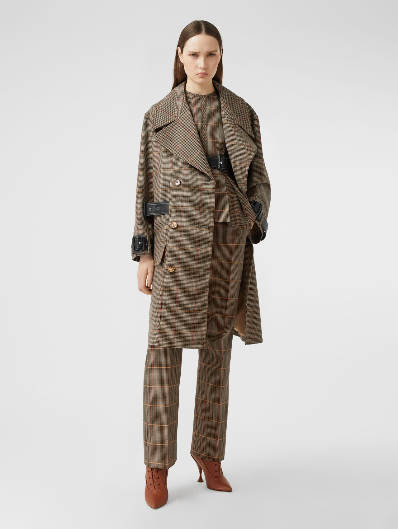 Houndstooth Check Wool Double-breasted Coat in Dark Brown