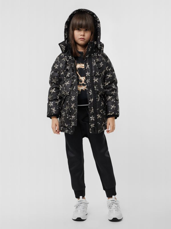 Sparkler Print Hooded Puffer Coat in Black | Burberry Hong Kong S.A.R - cell image 2