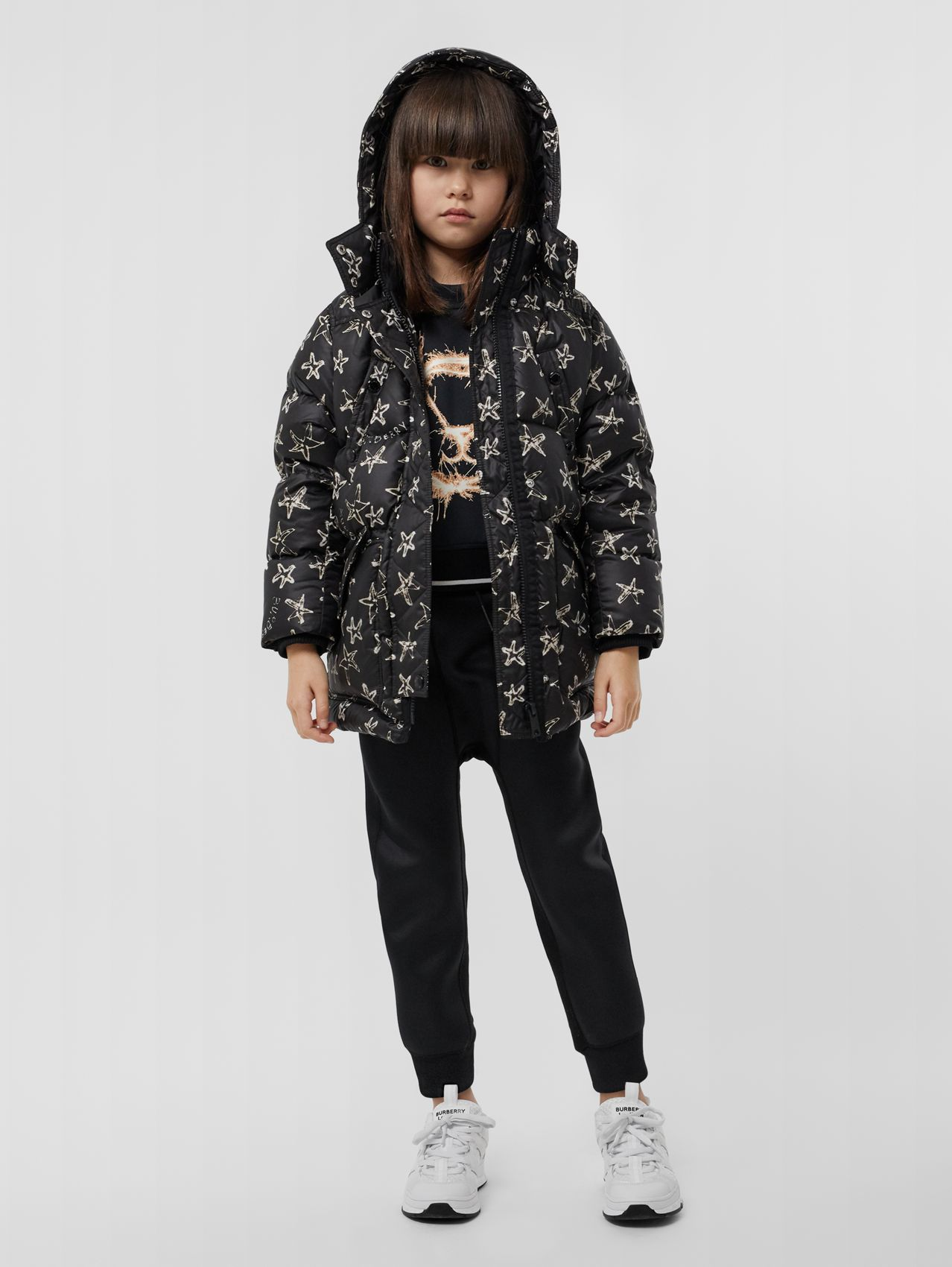 Sparkler Print Hooded Puffer Coat in Black