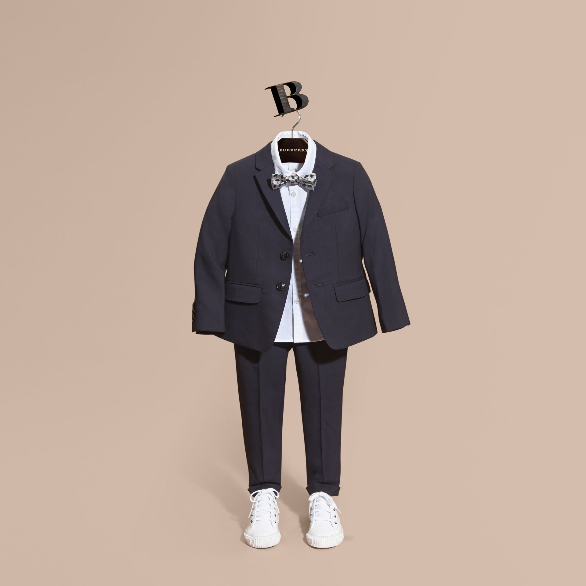 Single-breasted Wool Blazer in Navy - Boy | Burberry - gallery image 1