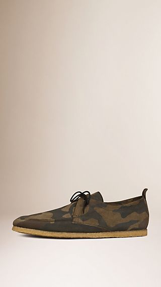 Crepe Sole Camouflage Suede Shoes