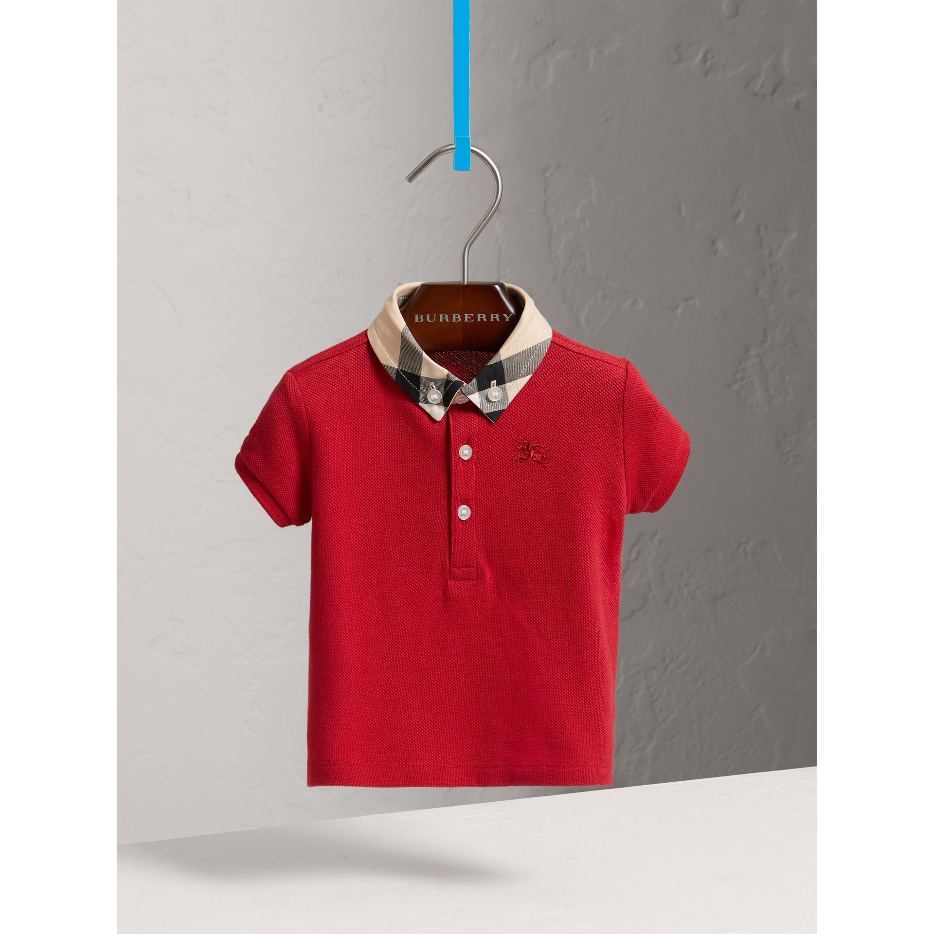 Check Collar Cotton Polo Shirt in Military Red | Burberry - gallery image 0