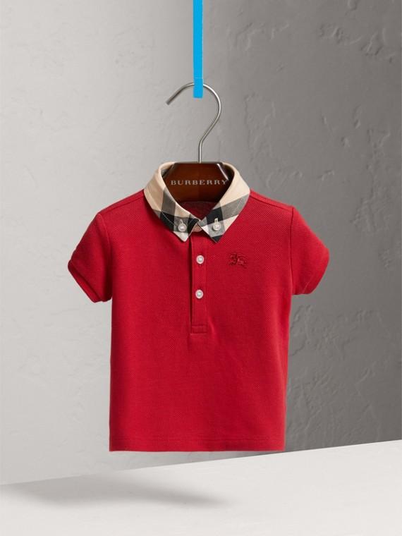Camisa polo de algodão com colarinho xadrez (Vermelho Militar)