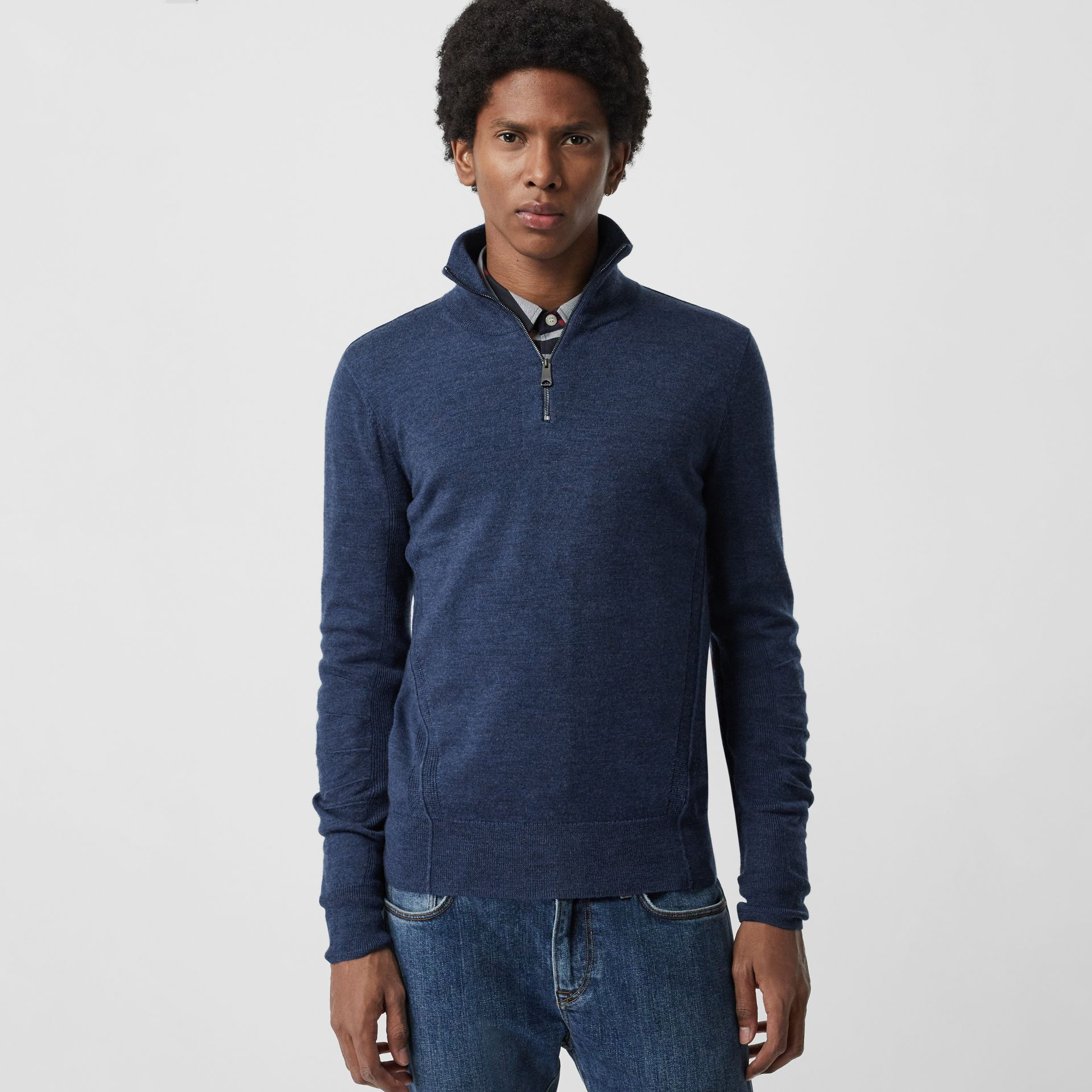 Merino Wool Half-zip Sweater in Storm Blue - Men | Burberry - gallery image 0