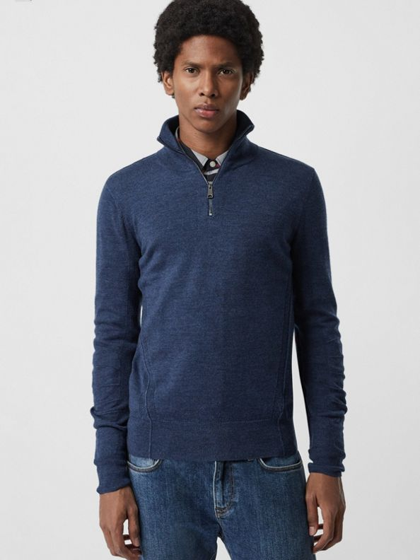 Pullover aus Merinowolle mit halblangem Reißverschluss (Sturmblau)