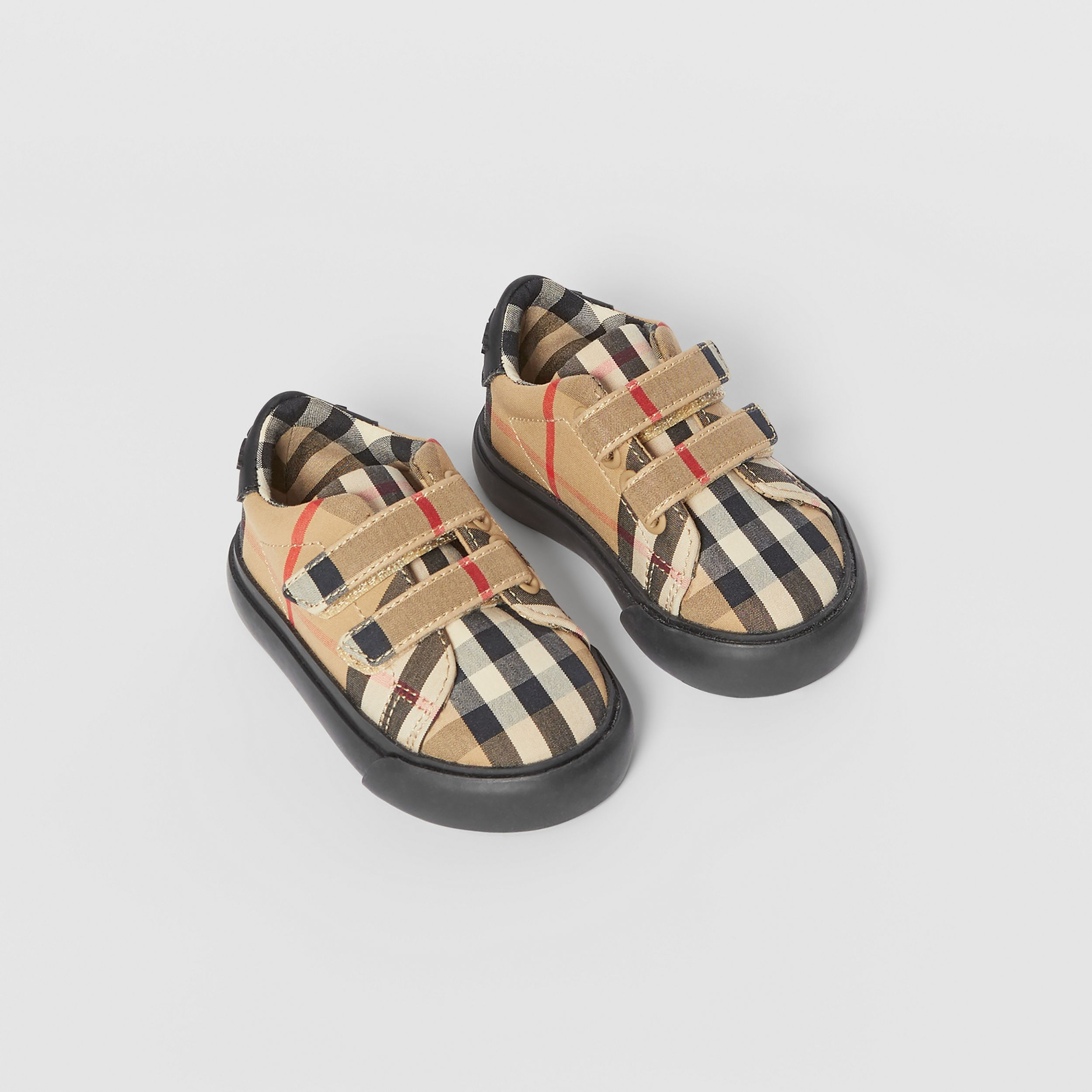 Vintage Check Cotton Sneakers in Archive Beige/black - Children | Burberry Hong Kong S.A.R. - 1