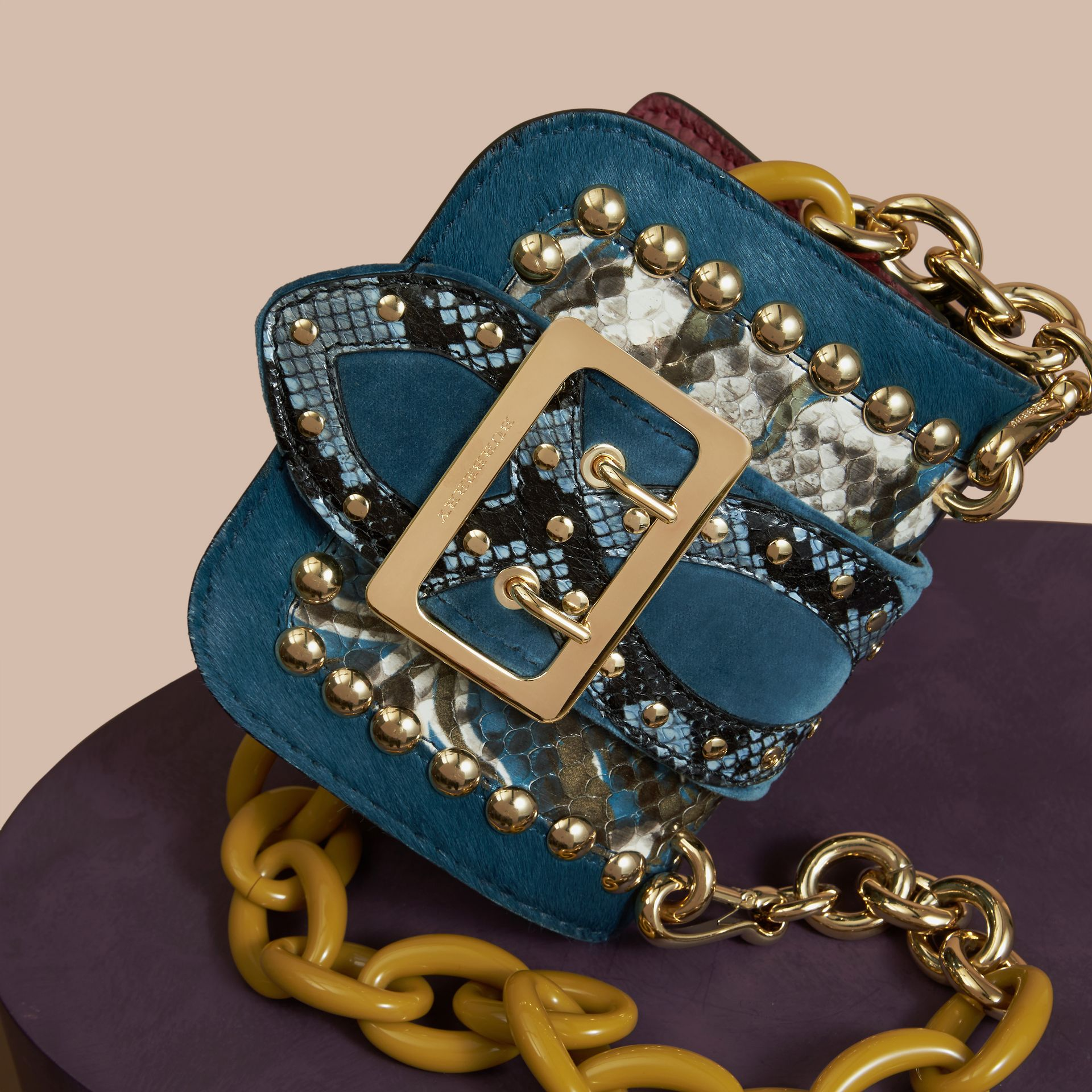 The Mini Square Buckle Bag in Calfskin, Snakeskin and Velvet in Pale Opal - gallery image 6