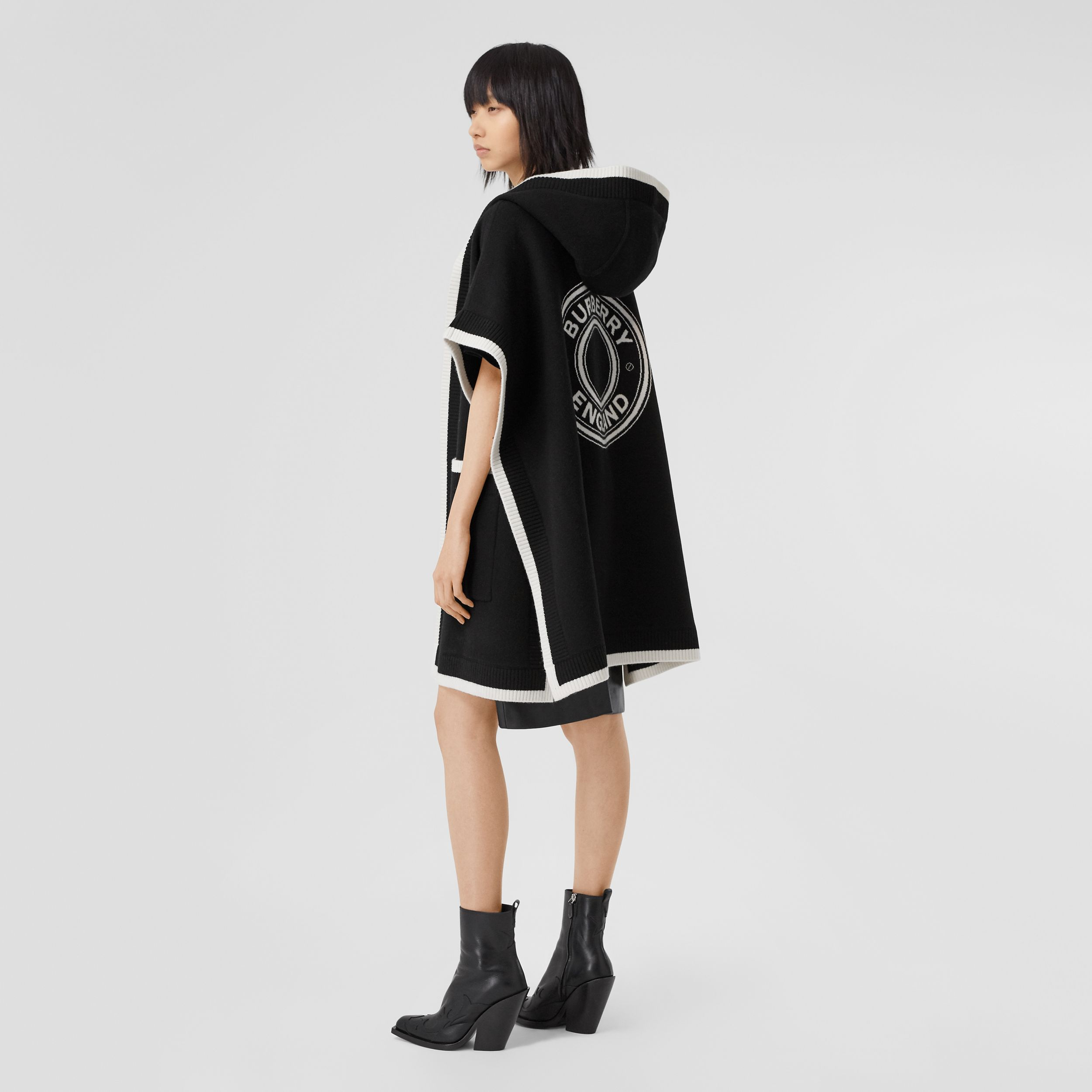 Logo Graphic Wool Cashmere Jacquard Hooded Cape in Black - Women | Burberry - 1